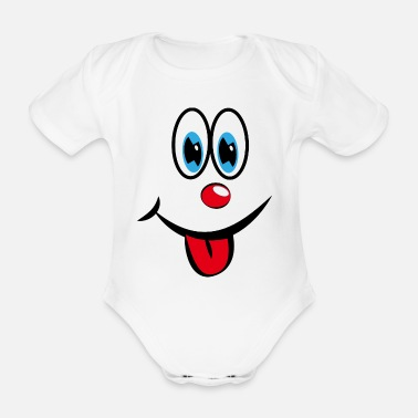 Smiley with tongue - Organic Short-Sleeved Baby Bodysuit
