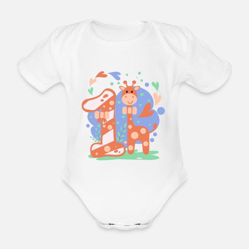 First Birthday 1st Year Girl Boy Gift Organic Short Sleeved Baby
