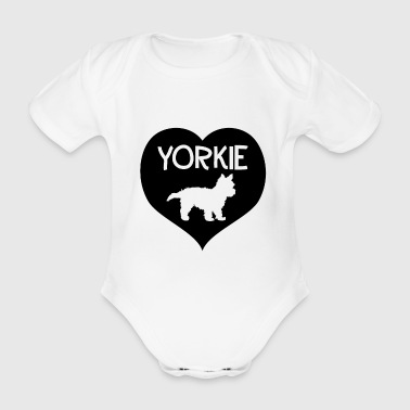 Yorkie in the heart - Organic Short-sleeved Baby Bodysuit