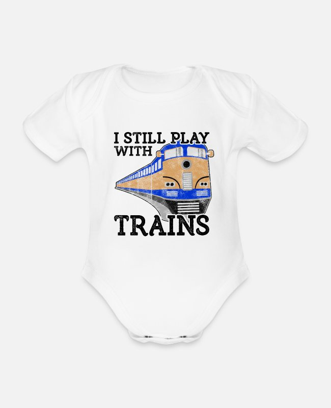 Training Baby Bodysuits - Train Lover Gift Railroad Gift Still Play with - Organic Short-Sleeved Baby Bodysuit white