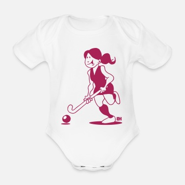 Hockey Field hockey girl - Organic Short-Sleeved Baby Bodysuit