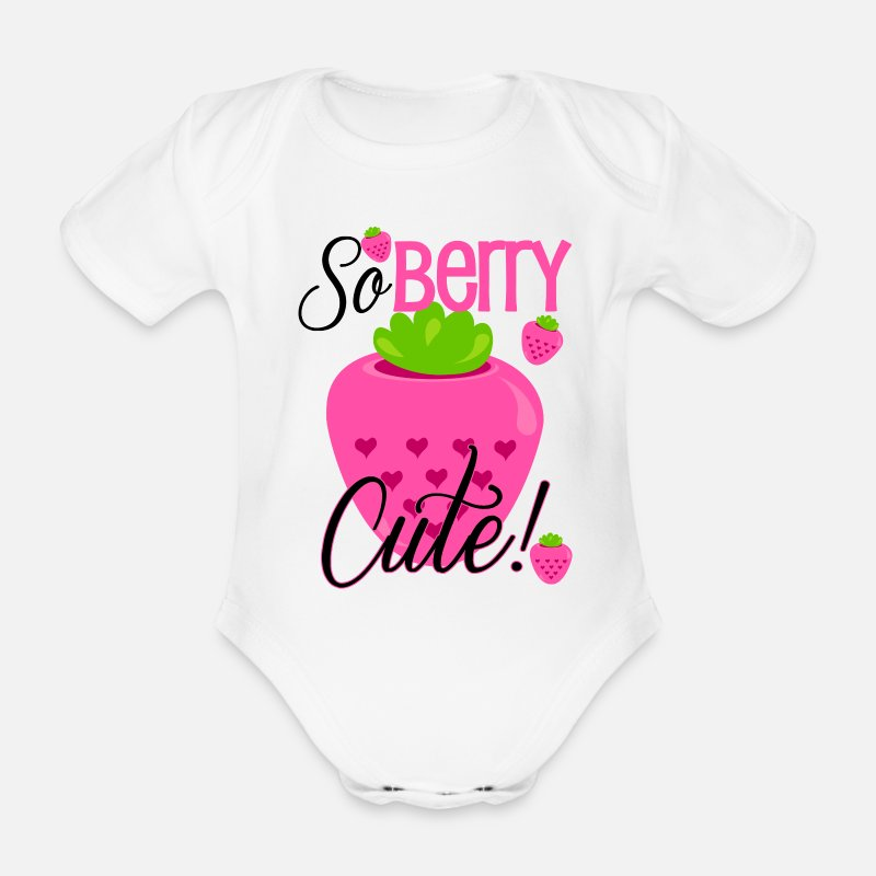 Cute Baby Clothing - So Berry Cute - Short-Sleeved Baby Bodysuit white