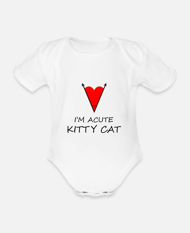 Heart Baby Bodysuits - I'm acute Cat Cute Funny Design - Organic Short-Sleeved Baby Bodysuit white