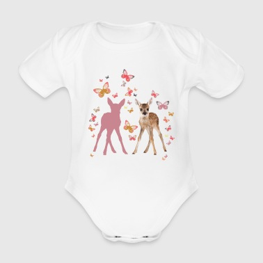 Animal Planet Fawn And Butterflies - Organic Short-sleeved Baby Bodysuit