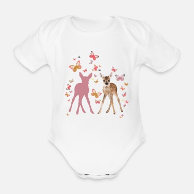 Officialbrands Animal Planet Fawn And Butterflies - Organic Short-sleeved Baby Bodysuit