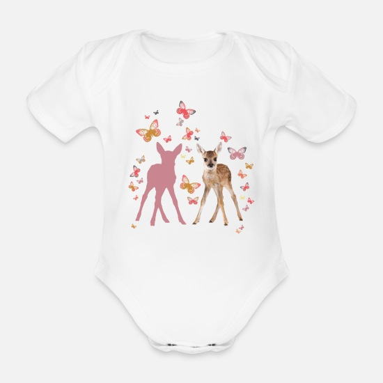 Butterfly Baby Clothes - Animal Planet Fawn And Butterflies - Organic Short-Sleeved Baby Bodysuit white