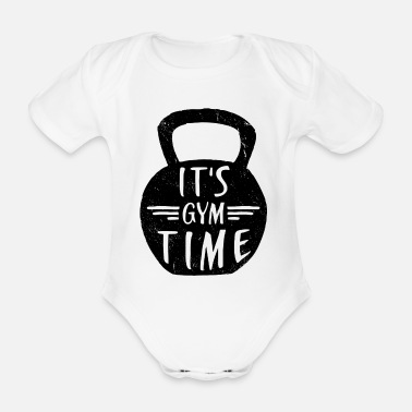 Funny Gym IT'S GYM TIME - Organic Short-Sleeved Baby Bodysuit