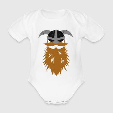 Viking beard Odin Thor helmet warrior nordic idea - Organic Short-sleeved Baby Bodysuit
