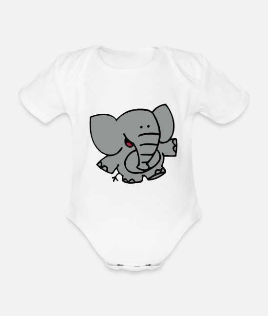 Graphics Baby Bodysuits - Little Elephant by Cheerful Madness!! - Organic Short-Sleeved Baby Bodysuit white