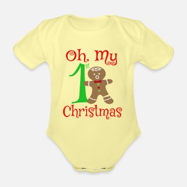 First Oh My 1st Christmas - Organic Short-Sleeved Baby Bodysuit