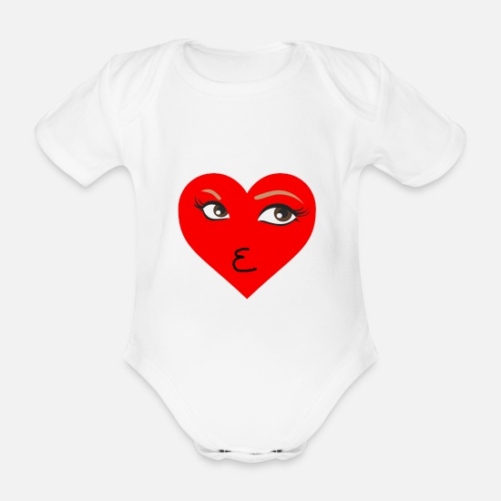 Love Baby Clothes - Kiss heart kiss mouth eyes eyelashes woman look - Organic Short-Sleeved Baby Bodysuit white