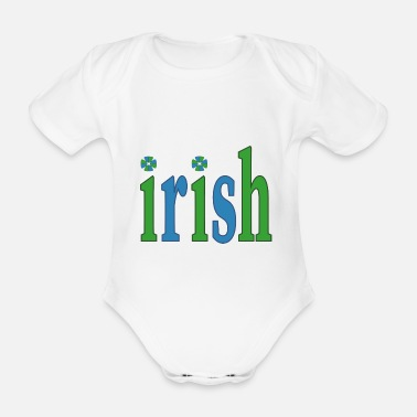 irish ireland ireland ireland script text word word - Organic Short-Sleeved Baby Bodysuit