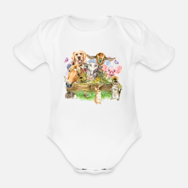 Animal Farm Animal Watercolor - Organic Short-Sleeved Baby Bodysuit