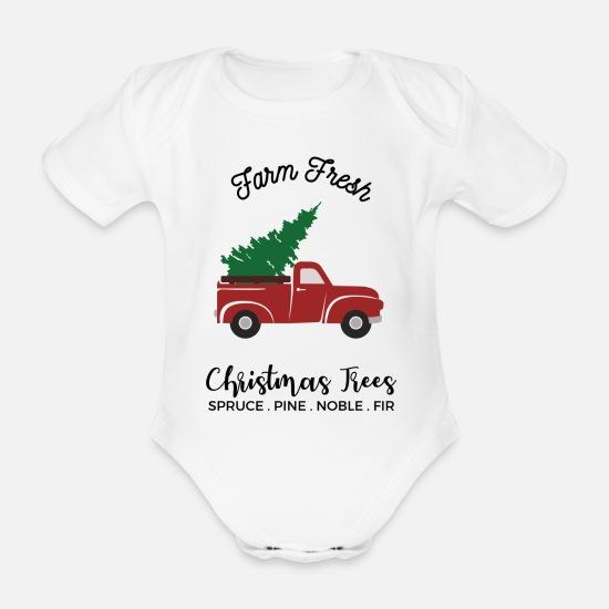 d095d0cf Jul Babyklær - gård ferske juletre gave julen hvit - Økologisk kortermet  babybody hvit