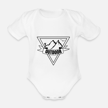 Dad Outdoor hiking mountaineering camping - Organic Short-sleeved Baby Bodysuit