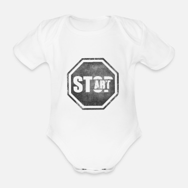 Start STOP START Start Art Start art - Organic Short-Sleeved Baby Bodysuit