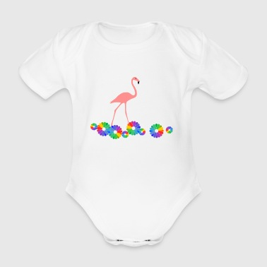 Flamingo with flowers - Organic Short-sleeved Baby Bodysuit