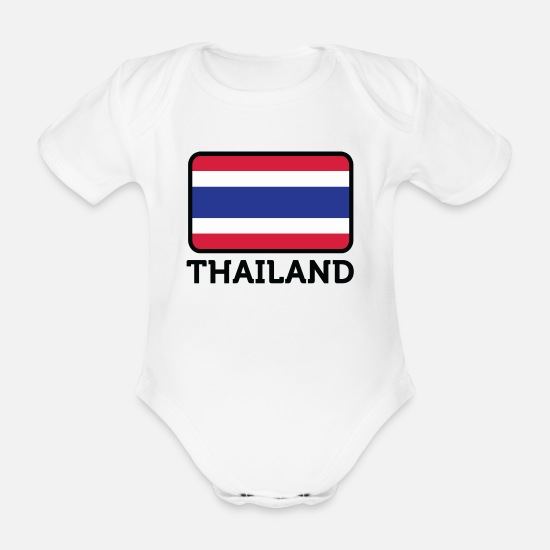 Muay Thai Baby Clothes - National Flag Of Thailand - Organic Short-Sleeved Baby Bodysuit white