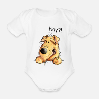 Cute Pets Airedale Terrier - Dog - Cartoon - Gift Dogs - Organic Short-Sleeved Baby Bodysuit
