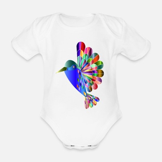 Influenza Baby Clothes - Colorful bird - Organic Short-Sleeved Baby Bodysuit white
