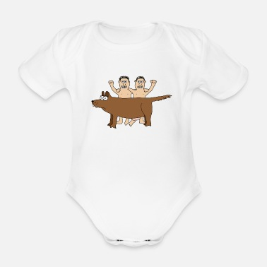 Rome Wolf Romulus & Remus Twins Wolf Rome Brothers Italy - Organic Short-Sleeved Baby Bodysuit