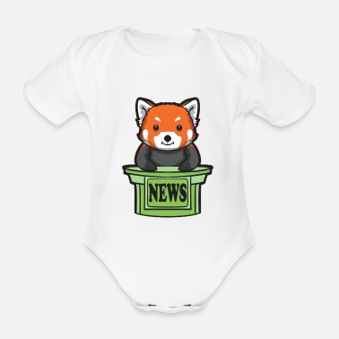 Presenteren Red Panda News Presenter - Baby bio-rompertje met korte mouwen