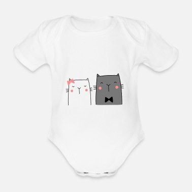 Wedding Couple Cats Couple Couple Couple Wedding Couple Wedding - Organic Short-Sleeved Baby Bodysuit