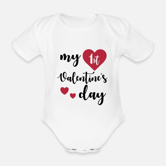 Day Baby Clothes - My 1st Valentines Day - Organic Short-Sleeved Baby Bodysuit white