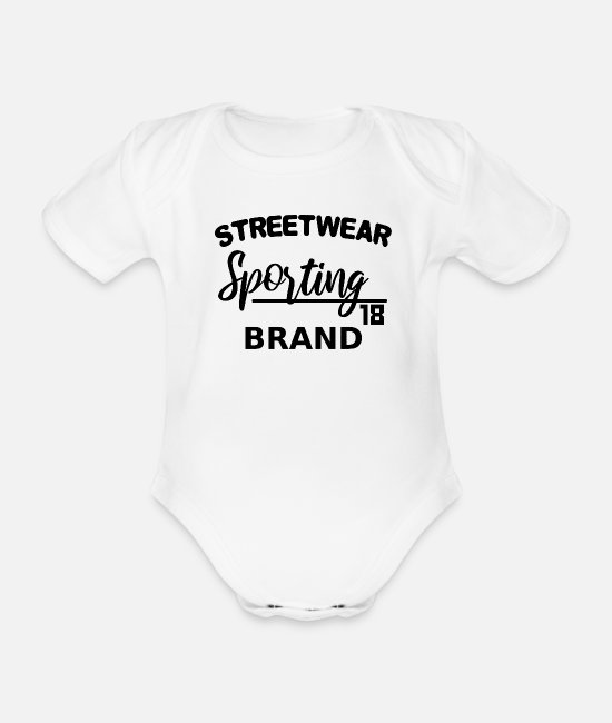Typography Baby Clothes - Streetwear Sporting Brand - lettering black - Organic Short-Sleeved Baby Bodysuit white