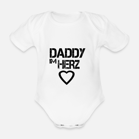 Dad Baby Clothes - Daddy in the heart - Organic Short-Sleeved Baby Bodysuit white