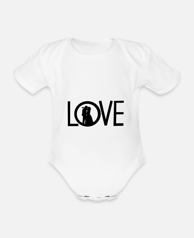 Heart Baby Bodysuits - Love - Organic Short-Sleeved Baby Bodysuit white