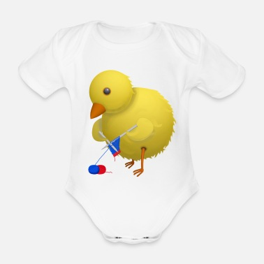 Humour Crafty Chick Humourous Cartoon - Organic Short-Sleeved Baby Bodysuit