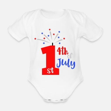 Blues 1st 4th Of July Patriotic American - Organic Short-Sleeved Baby Bodysuit