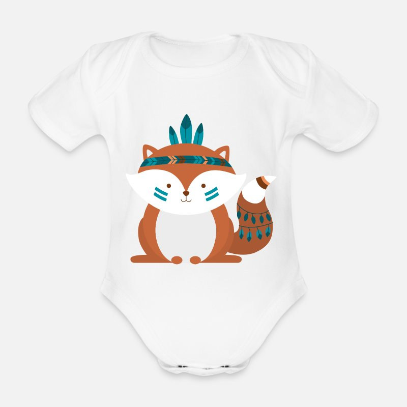 Baby Shower Baby Clothing - Indian Fuchs - Organic Short-Sleeved Baby Bodysuit white