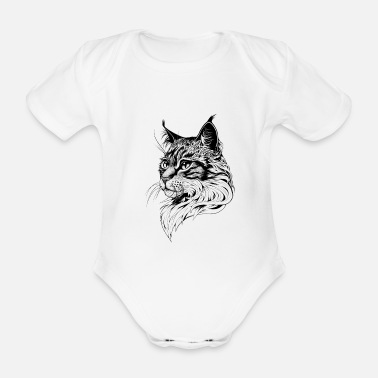 Hand Cat portrait hand drawn - Organic Short-Sleeved Baby Bodysuit