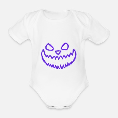 Halloween 2019 Halloween Face Face 3 - Purple - Organic Short-Sleeved Baby Bodysuit