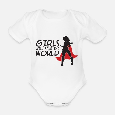 Supergirl Power woman power - Organic Short-Sleeved Baby Bodysuit