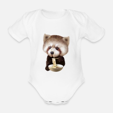 Red RED PANDA LOVES NOODLE - Organic Short-Sleeved Baby Bodysuit