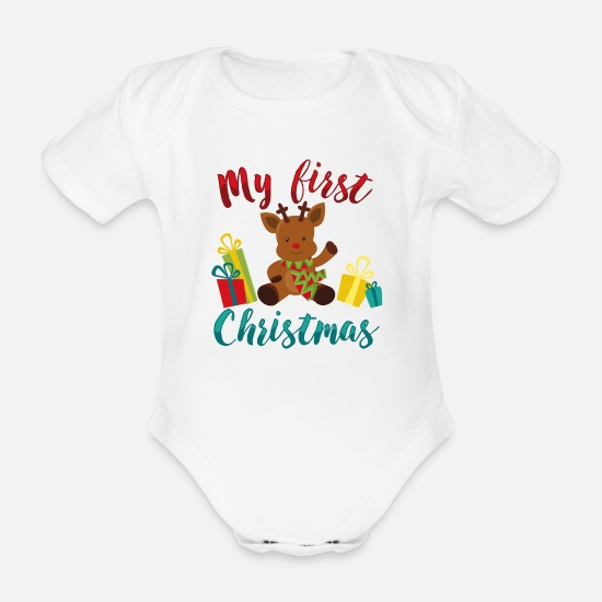 e3037012 Babe Babyklær - Min første jul - mener første jul baby - Økologisk  kortermet babybody hvit