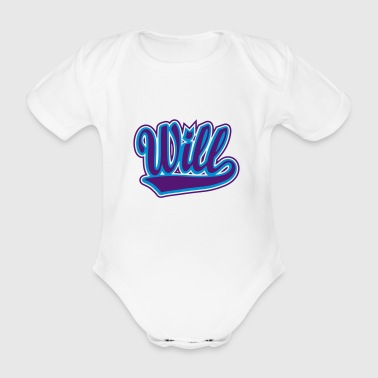Personalised Will - T-shirt personalised with your name - Organic Short-sleeved Baby Bodysuit