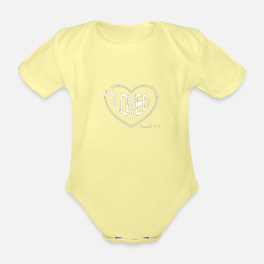 Everlasting Life Christian Design - I'm Loved - Bible Verse - Organic Short-Sleeved Baby Bodysuit