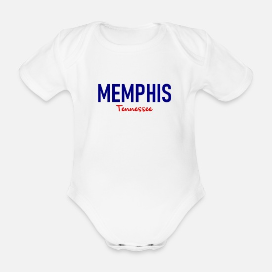 Memphis Baby Clothes - Memphis - Tennessee - United States - United States - US - Organic Short-Sleeved Baby Bodysuit white