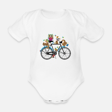 Cycling forest animals on a bike - Organic Short-Sleeved Baby Bodysuit