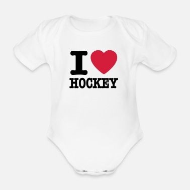 Hockey i love hockey - Baby bio-rompertje met korte mouwen