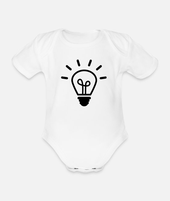 EU Baby Bodysuits - light bulb - Organic Short-Sleeved Baby Bodysuit white