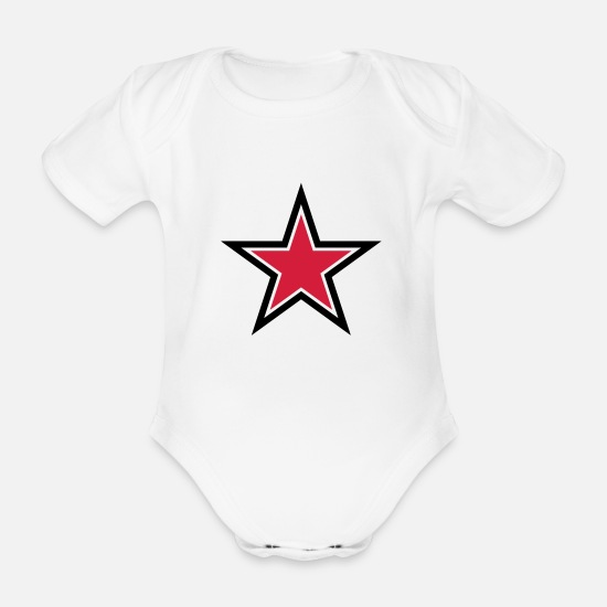 Red Baby Clothes - sharp red star with sharp black outline - Organic Short-Sleeved Baby Bodysuit white