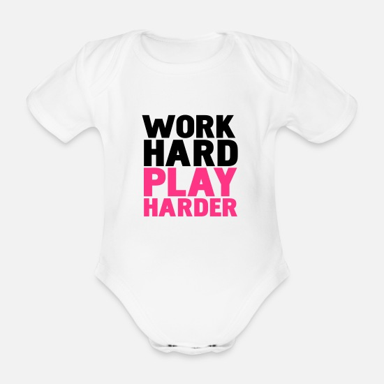 Party Baby Clothes - work hard play harder - Organic Short-Sleeved Baby Bodysuit white