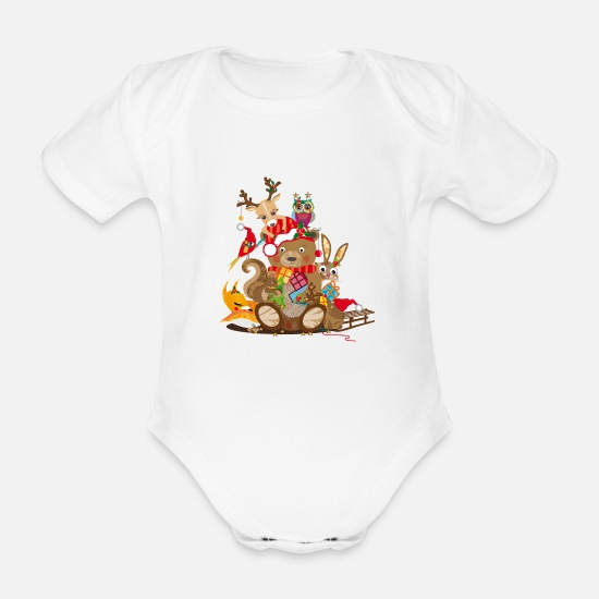 Christmas Baby Clothes - Animals celebrate Christmas - Organic Short-Sleeved Baby Bodysuit white