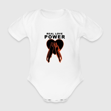 Real Love Power Heart - Ekologisk kortärmad babybody