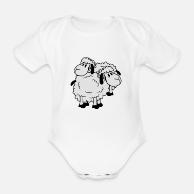 Goat 2 friends team couple duo brothers happy funny cut - Organic Short-Sleeved Baby Bodysuit